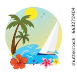 tropical island holidays sea | Shutterstock .eps vector #663272404