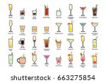alcoholic cocktails with titles.... | Shutterstock . vector #663275854