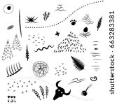 vector set of black silhouettes ... | Shutterstock .eps vector #663283381