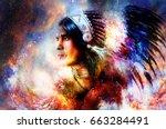 beautiful young indian warrior... | Shutterstock . vector #663284491