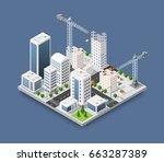 construction crane heavy... | Shutterstock .eps vector #663287389