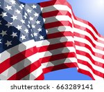 american flag in triangular... | Shutterstock .eps vector #663289141