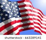american flag in triangular...   Shutterstock .eps vector #663289141