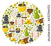 vector illustration with... | Shutterstock .eps vector #663296431