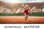 female tennis player with a... | Shutterstock . vector #663298189