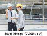 two engineer look to target at... | Shutterstock . vector #663299509