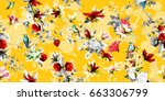 wide vintage seamless... | Shutterstock .eps vector #663306799
