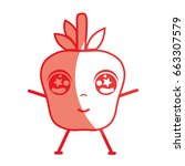 silhouette kawaii cute tender...   Shutterstock .eps vector #663307579