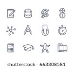 school  education line icons on ... | Shutterstock .eps vector #663308581