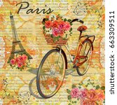 paris vintage poster.newspaper... | Shutterstock . vector #663309511