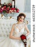 fashion portrait of a beautiful ... | Shutterstock . vector #663312739