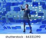 businesswoman touching blue screen - stock photo