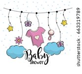 baby shower to welcome a child... | Shutterstock .eps vector #663319789