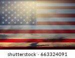 us flag waving democratic... | Shutterstock . vector #663324091