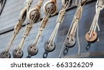 wooden deadeyes on a spanish... | Shutterstock . vector #663326209