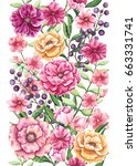 seamless border of watercolor... | Shutterstock . vector #663331741