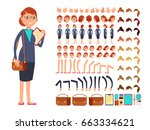 cartoon flat businesswoman... | Shutterstock .eps vector #663334621