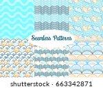 set of vector seamless patterns ... | Shutterstock .eps vector #663342871
