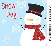 greeting card with snowman... | Shutterstock .eps vector #663346609