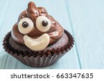 funny poop emoji chocolate... | Shutterstock . vector #663347635