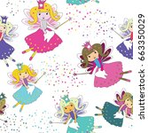 tooth fairies with magic wands... | Shutterstock .eps vector #663350029