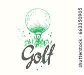 golf. vector set of hand drawn... | Shutterstock .eps vector #663350905