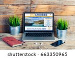 laptop with website of travel... | Shutterstock . vector #663350965