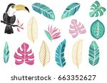 vector tropical set with... | Shutterstock .eps vector #663352627