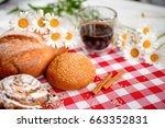 coffee cup  cracker  cookie ... | Shutterstock . vector #663352831