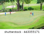 golfers were playing at sand... | Shutterstock . vector #663355171
