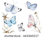 Stock photo illustration of watercolor butterflies isolated on white background 663360217