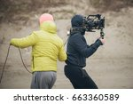 behind the scene. cameraman and ... | Shutterstock . vector #663360589