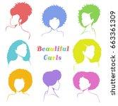 set of stylized women's busts...   Shutterstock .eps vector #663361309
