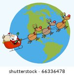 santa waving and flying above... | Shutterstock .eps vector #66336478