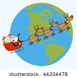 santa waving and flying above... | Shutterstock .eps vector #66336478