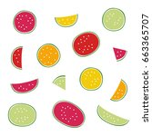 set of watermelon   vector... | Shutterstock .eps vector #663365707