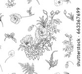seamless pattern with poppy... | Shutterstock .eps vector #663367699