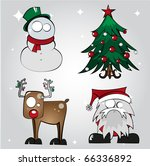 Set of Four Christmas Character Illustrations 2 - stock vector