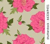 hand drawing peonies. vector... | Shutterstock .eps vector #663369451