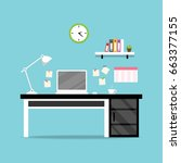 office desk with white laptop.... | Shutterstock .eps vector #663377155