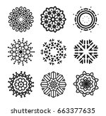 linear flowers logo set.... | Shutterstock .eps vector #663377635