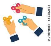 hands holding colorful fidget... | Shutterstock .eps vector #663382585