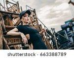 closeup fashion portrait of... | Shutterstock . vector #663388789