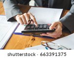 analyzing financial data and... | Shutterstock . vector #663391375