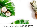 sliced exotic fruits   coconut... | Shutterstock . vector #663395575