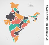 indian map with regions and...   Shutterstock .eps vector #663395989