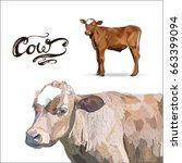 cow calf brown  vector | Shutterstock .eps vector #663399094