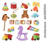 set of different cartoon vector ... | Shutterstock .eps vector #663400504