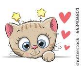 cute cartoon kitten with big... | Shutterstock . vector #663406801