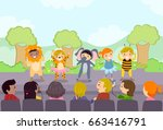 illustration of stickman kids... | Shutterstock .eps vector #663416791